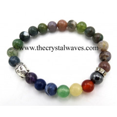 Indian Jasper Round Beads Chakra Bracelet With Buddha Charm
