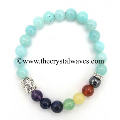 Amazonite Good Quality Round Beads Chakra Bracelet With Buddha Charm