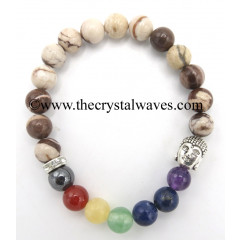 Natural Brown Stripped Jasper Round Beads Chakra Bracelet With Buddha Charm