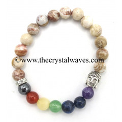 Crazy Lace Agate Round Beads Chakra Bracelet With Buddha Charm