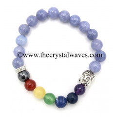 Aquamarine Natural Round Beads Chakra Bracelet With Buddha Charm