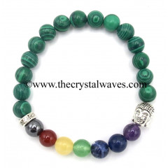 Malachite Natural Round Beads Chakra Bracelet With Buddha Charm