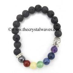 Lava Stone Round Beads Chakra Bracelet With Buddha Charm