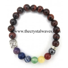 Red Tiger Eye Agate Round Beads Chakra Bracelet With Buddha Charm