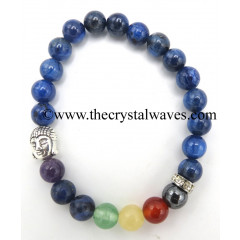 Blue Kyanite Round Beads Chakra Bracelet With Buddha Charm