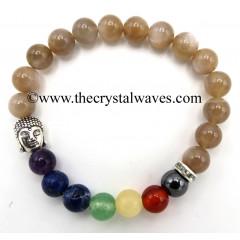 Mocha Moonstone Round Beads Chakra Bracelet With Buddha Charm