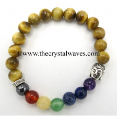 Tiger Cat's Eye Round Beads Chakra Bracelet With Buddha Charm