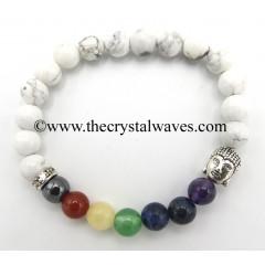 Howlite Round Beads Chakra Bracelet With Buddha Charm