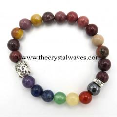 Mookite Jasper Round Beads Chakra Bracelet With Buddha Charm