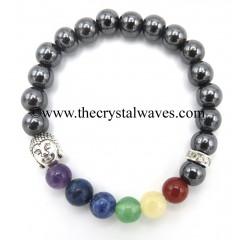 Hematite Round Beads Chakra Bracelet With Buddha Charm