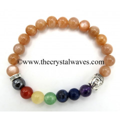 Peach Moonstone Round Beads Chakra Bracelet With Buddha Charm