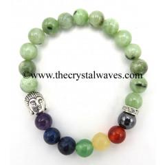 Green jade Round Beads Chakra Bracelet With Buddha Charm