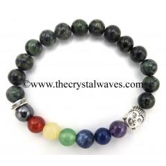Green Jasper Round Beads Chakra Bracelet With Buddha Charm