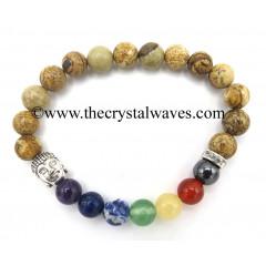 Picture Jasper Round Beads Chakra Bracelet With Buddha Charm
