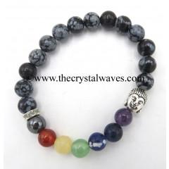 Snowflake Obsidian Round Beads Chakra Bracelet With Buddha Charm