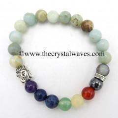 Mex Amazonite Round Beads Chakra Bracelet With Buddha Charm