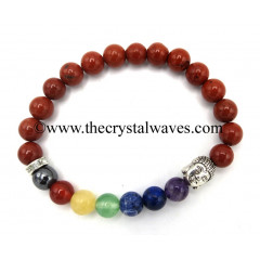Red Jasper Round Beads Chakra Bracelet With Buddha Charm