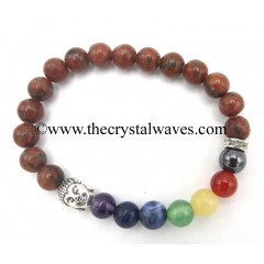 Red Black Jasper Round Beads Chakra Bracelet With Buddha Charm