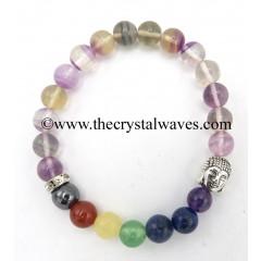 Multi Fluorite Round Beads Chakra Bracelet With Buddha Charm