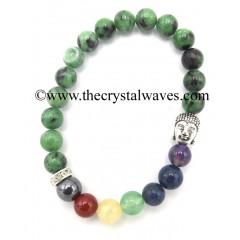 Ruby Zoisite Round Beads Chakra Bracelet With Buddha Charm