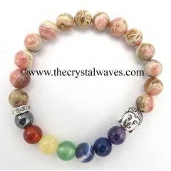 Rhodocrosite Round Beads Chakra Bracelet With Buddha Charm