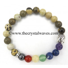 Picture Jasper African Round Beads Chakra Bracelet With Buddha Charm