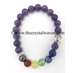 Amethyst Round Beads Chakra Bracelet With Buddha Charm
