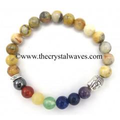 Plum Agate Round Beads Chakra Bracelet With Buddha Charm