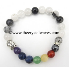 Black Rutilated Quartz Round Beads Chakra Bracelet With Buddha Charm