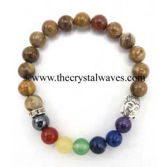Natural African Jasper Round Beads Chakra Bracelet With Buddha Charm