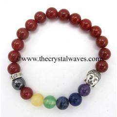 Red Agate Chalcedony Carnelian  Round Beads Chakra Bracelet With Buddha Charm