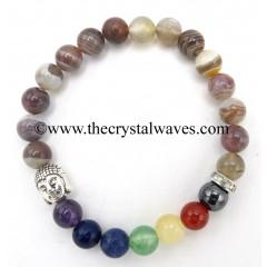 Botswana Agate Round Beads Chakra Bracelet With Buddha Charm