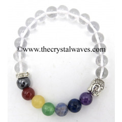 Crystal Quartz Round Beads Chakra Bracelet With Buddha Charm