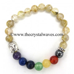Golden Rutilated Quartz Round Beads Chakra Bracelet With Buddha Charm