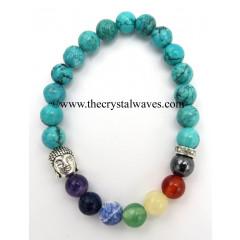 Turquoise Chinese Round Beads Chakra Bracelet With Buddha Charm