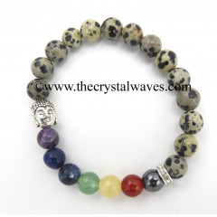 Dalmation Jasper Round Beads Chakra Bracelet With Buddha Charm
