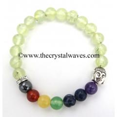 Prehnite Round Beads Chakra Bracelet With Buddha Charm