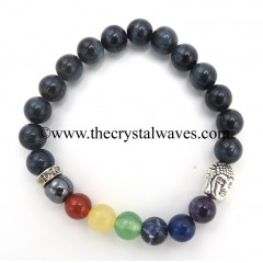 Blue Tiger Eye Agate Round Beads Chakra Bracelet With Buddha Charm