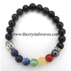 Black Obsidian Round Beads Chakra Bracelet With Buddha Charm