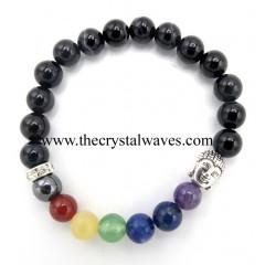 Black Banded Sulemani Agate Round Beads Chakra Bracelet With Buddha Charm
