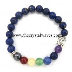 Lapis Lazuli Round Beads Chakra Bracelet With Buddha Charm