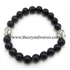 Black Banded Agate Chalcedony 8 mm Round Beads Bracelet With Buddha Charms