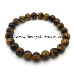 Tiger Eye Agate 8 mm Round Beads Bracelet