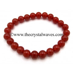 Red Agate Carnelian Chalcedony 8 mm Round Beads Bracelet