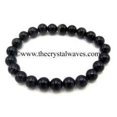 Black Banded Agate Chalcedony 8 mm Round Beads Bracelet