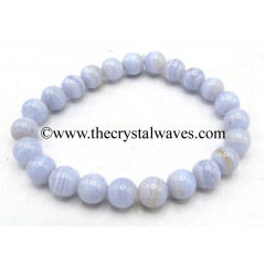 Blue Lace Agate 8 mm Round Beads Bracelet