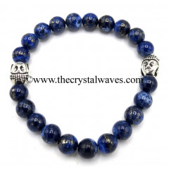 Lapis Lazuli 8 mm Round Beads Bracelet With Buddha Charms