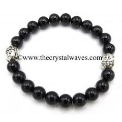 Black Tourmaline 8 mm Round Beads Bracelet With Buddha Charms