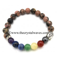 Rhodonite Round Beads Chakra Bracelet With Buddha Charm