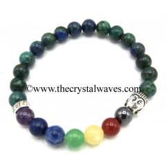 Chrysocolla Round Beads Chakra Bracelet With Buddha Charm
